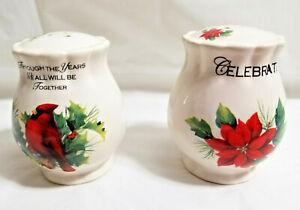 "Christmas Bird Holiday Design Salt & Pepper Shakers Red Green White 3"""
