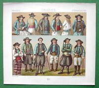 FRANCE Brittany Costume of Peasants - RACINET Color Litho Print