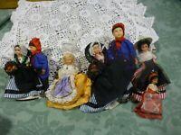 lot= 7 poupées folkloriques anciennes,couples de provence 10/18cm