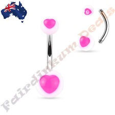 316L Surgical Steel Belly Ring With Pink UV Heart Centered White Acrylic Balls