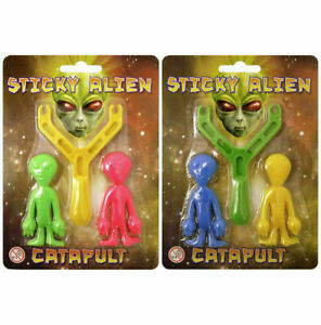 STICKY ALIEN SLINGSHOT CATAPULT TOY SPACE PARTY BAG CHRISTMAS STOCKING FILLERS