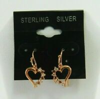 925 Sterling Silver Heart-Shaped Dangle with 2 Color Stones Earrings JM00012