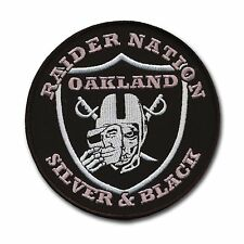 "Large Oakland Raider Football Nation Patch (4 1/2"") Silver and Black Pride - NFL"