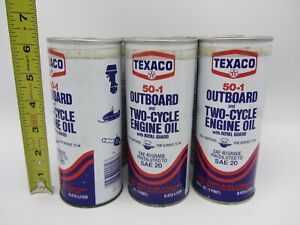 VTG 6 PACK TEXACO 50-1 OUTBOARD MOTOR OIL 16 OUNCE METAL CAN MARINE BOAT 2 CYCLE