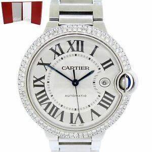 Cartier Ballon Bleu Stainless Steel 42mm 3ctw Diamond Bezel Watch 3001 w/ Papers