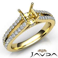Prong Setting Asscher Diamond Semi Mount Engagement Ring 14k Yellow Gold 0.65Ct