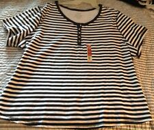 LOT#b New 1 Clothes LADIES WOMEN size 4x faded glory short sleeve shirt top stri