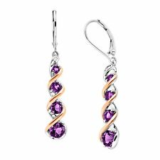 Natural Amethyst Drop Earrings with Diamonds in Sterling Silver & 14K Rose Gold