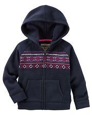 New OshKosh Hooded Fair Isle Sweater Cardigan Hoodie size 10 Girls NWT Navy