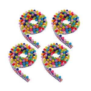 4yd Beaded Pom Pom Bobble Trim Ball Tassel Jacquard Fringe Ribbon Craft 17mm