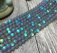 Natural 6-12mm White / Gray Gleamy Rainbow Moonstone Round Loose Beads 15'' AAA