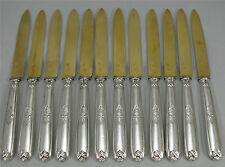 12 couteaux à dessert argent massif Minerve, vermeil, Alfonse Debain.