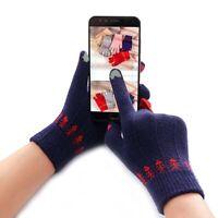 Warm Girls Cute Winter Knitted Gloves Screen Operate Cartoon Cats Full Finger