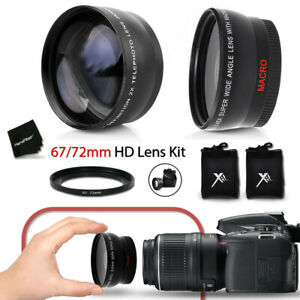 67mm Wide Angle + 2x Telephoto Lenses + Ring Adapter 67-72mm f/ Nikon D3X