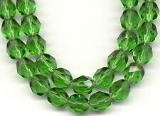 50pcs Czech Fire Polish Loose Glass Beads Christmas Green Round Faceted 6mm
