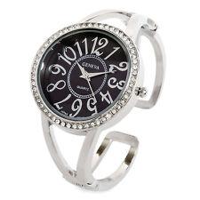 Silver Black Crystal Bezel Large Face Women's Cuff Watch