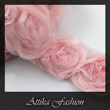 Pale Pink CHIFFON Frayed LACE TRIM × 1y 12 Large Flower Appliques Motifs Crafts