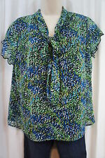 Elementz Petite Blouse Sz PL Green Multi Sheer Lined Career Casual Top