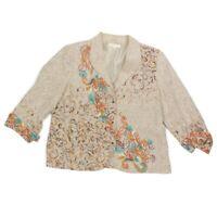 Coldwater Creek Embroidered Southwestern Blazer Jacket size 16 Beige Linen - 852