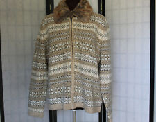 SUSAN BRISTOL VERY NICE WOOL SWEATER/CARDIGAN  NORDIC PATTERN SZ XL EUC
