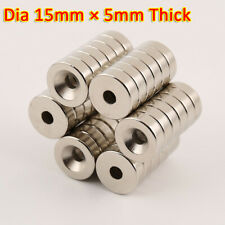 15mm X 5mm Rare Earth Diy Strong Ring Neo Neodymium Disc Round Magnet 4mm Hole