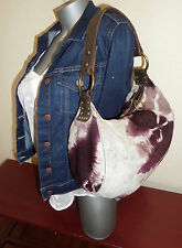 LUCKY BRAND Medium Studded SLOUCHY PURPLE TIE DYE Suede Brown Leather HOBO EUC!