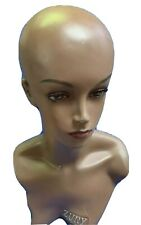 "Female Plastic Mannequin Head Model Wig Glasses Hat Display Stand 20"" Long Used."
