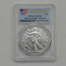 2021 $1 American Silver Eagle Type 1 PCGS MS70 FS First Strike Flag Label 10