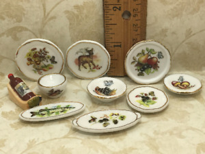 AUTUMN TABLE Fall Harvest Dishes 10 pcs French Feves Dollhouse Miniatures