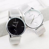 Hot Fashion Classic Women's Men Quartz Analog Stainless Steel Silver Wrist Watch
