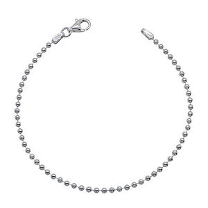 925 Solid Sterling Silver BALL BEAD chain BRACELET 2mm NEW