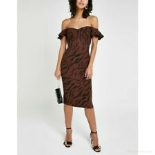 River Island Brown Tiger Animal Print Bardot Dress BNWT Size UK 10