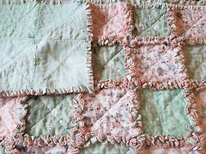 "Crib Rag Quilt Woodland Theme Nursery Bedding Layered Flannel 36 X 58"" Handmade"