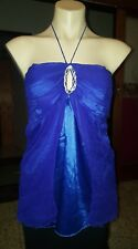 WOMENS Sz 14 blue CHARLOTTE MOORE double-layered shiny halterneck top LOVELY!