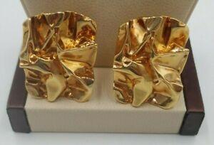 "Vintage AVON 1990's RARE Crinkle 1.5"" x 1""  Heavy Gold Tone Clip-On Earrings"