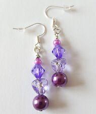 New Handmade Purple Glass Pearl Round Acrylic Bicone Beaded Dangle Drop Earrings