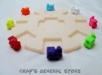 8 MEXICAN TRAIN ENGINE DOMINO GAME MARKERS & ROUND HUB - YOU PICK THE COLORS