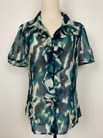 Trent Nathan Women's Blue Taupe Sheer Ruffled Blouse Sz 10 A18~Free AU Post!