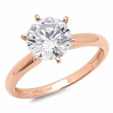 1.50 ct BRILLIANT Round CUT SOLITAIRE ENGAGEMENT RING REAL 14K Rose GOLD