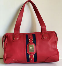 NEW! TOMMY HILFIGER RED LEATHER BOWLER SATCHEL TOTE PURSE HANDBAG $85 SALE