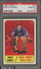 1967 Topps Hockey #18 Bruce Gamble Maple Leafs PSA 10 GEM MINT
