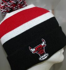 NBA Chicago Bulls BREAKAWAY KNIT Cap Beanie Hat with Pom - Black