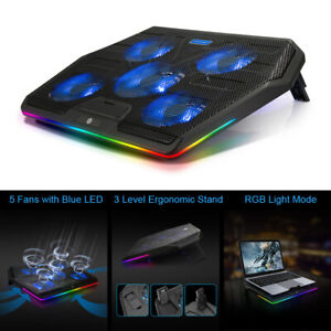 "RGB 6 Powerful Fans 12""-19"" Quiet Laptop Cooler Metal Cooling Mat Pad Stand Tilt"
