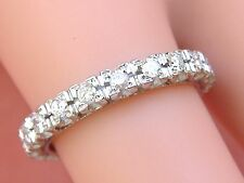 1950s VINTAGE MID-CENTURY .80ctw DIAMOND PLATINUM ETERNITY BAND RING size 6.75