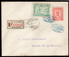 1229 URUGUAY REGISTERED FFC FIRST FLIGHT COVER 1925 MONTEVIDEO - RINCON
