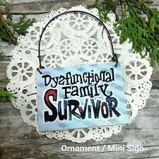 DYSFUNCTIONAL Mini SIGN Family Fun * DecoWords Relatives Wood Ornament Size USA