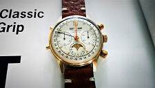 VERY RARE Watch, Tourneau Datofix 14k Gold Triple Date Moon Phase Chronograph