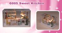 Sweet kitchen Miniature Dollhouse DIY Model Kits with Furniture LED 1:24