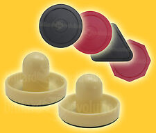 "2 Air Hockey Pushers-Cream & 4 Pucks 2-1/2"" Round/Triangle/Octagon-Table Hockey"