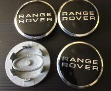 4 X RANGE ROVER BLACK CHROME 63MM WHEEL CENTRE CAPS SPORT EVOQUE FREELANDER